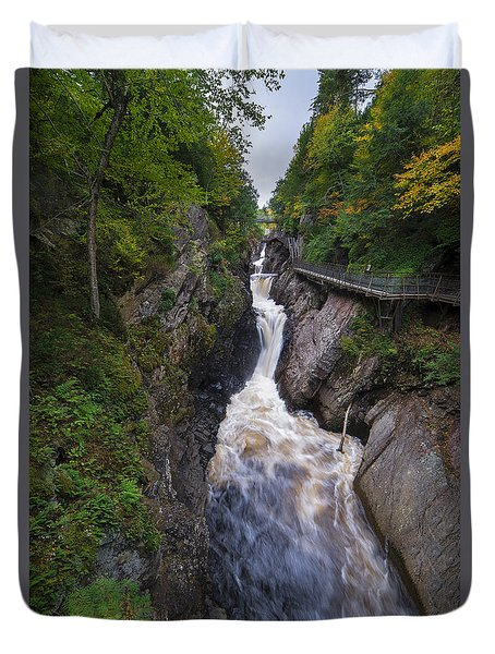 Duvet Cover featuring the photograph High Falls Gorge Adirondacks by Mark Papke