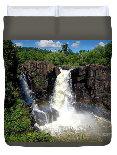 High Falls On Pigeon River Duvet Cover