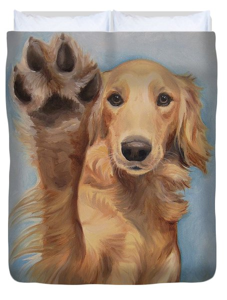 Duvet Cover featuring the painting High Five by Jindra Noewi