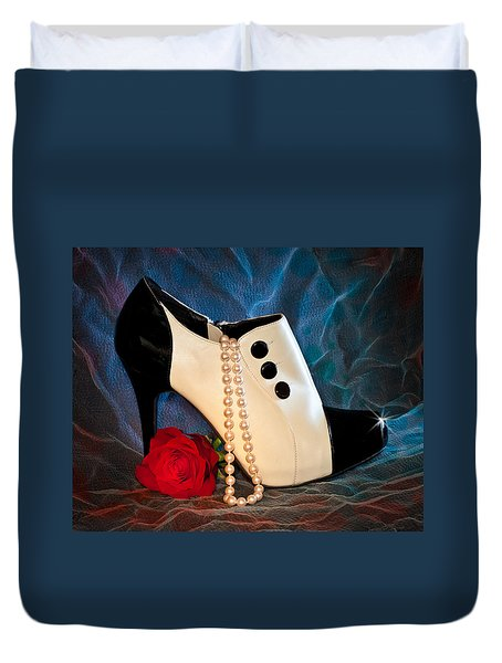 Duvet Cover featuring the photograph High Heel Spat Bootie Shoe by Patti Deters