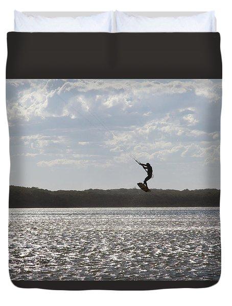 Duvet Cover featuring the photograph High Jump  by Miroslava Jurcik