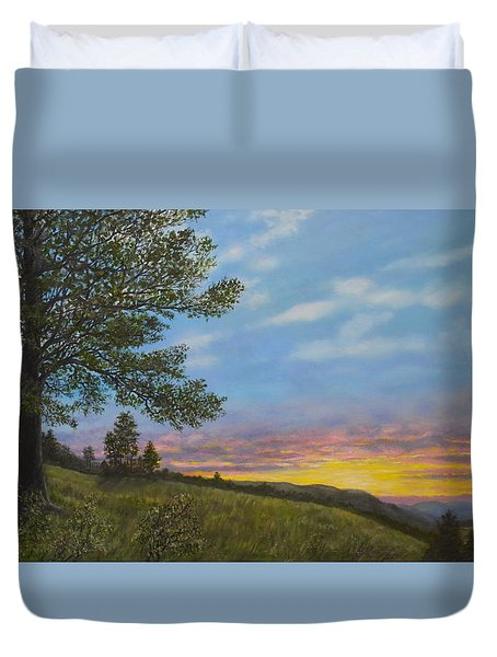 Duvet Cover featuring the painting High Meadow Sundown by Kathleen McDermott