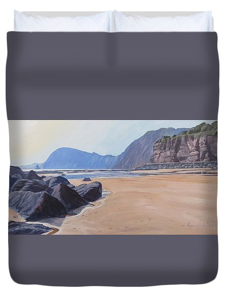 Duvet Cover featuring the painting High Peak Cliff Sidmouth by Lawrence Dyer