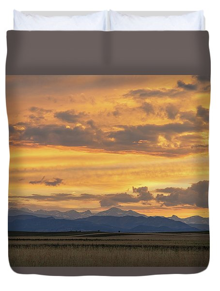 Duvet Cover featuring the photograph High Plains Meet The Rocky Mountains At Sunset by James BO Insogna