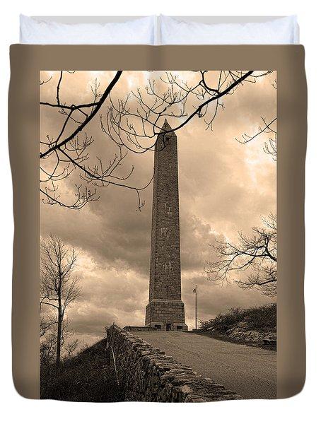 High Point Obelisk In Sepia  Duvet Cover