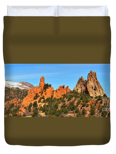 Duvet Cover featuring the photograph High Point Panorama At Garden Of The Gods by Adam Jewell