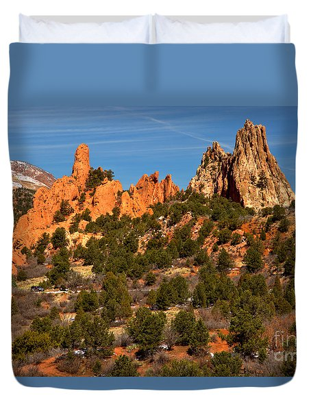 Duvet Cover featuring the photograph High Point Rock Towers by Adam Jewell