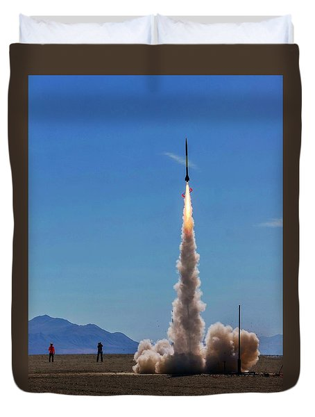 Duvet Cover featuring the photograph High Power Rocket Certification Flight by Peter Thoeny