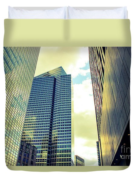 High Rise Reflections Nyc Duvet Cover