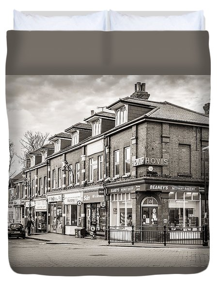 Duvet Cover featuring the photograph High Street. by Gary Gillette