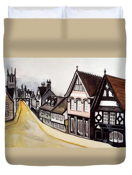 High Street Of Stamford In England Duvet Cover