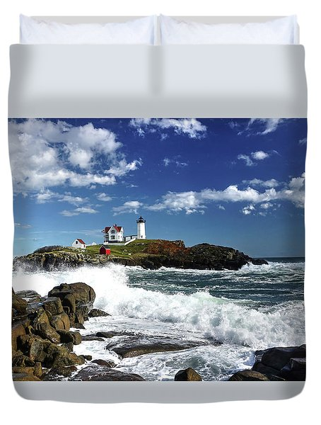 Duvet Cover featuring the photograph High Surf At Nubble Light by Wayne Marshall Chase