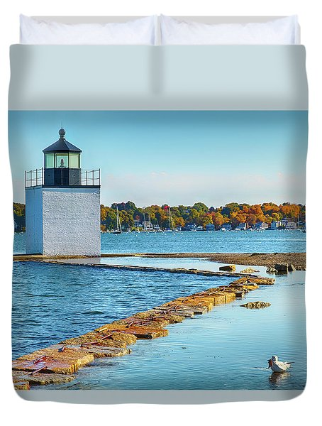 High Tide At Derby Wharf In Salem Duvet Cover