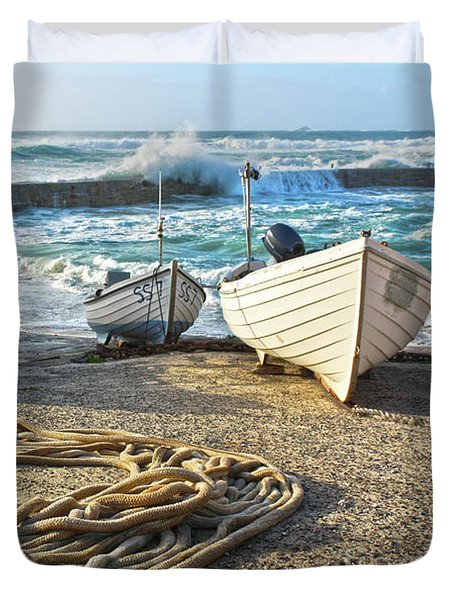 Duvet Cover featuring the photograph High Tide In Sennen Cove Cornwall by Terri Waters