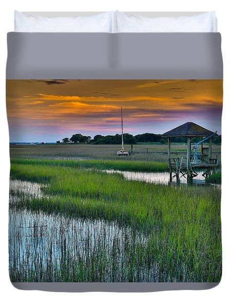 High Tide On The Creek - Mt. Pleasant Sc Duvet Cover