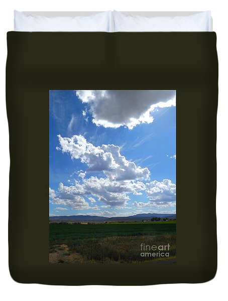 High Winds Chase The Rain Clouds Away Duvet Cover by Annie Gibbons