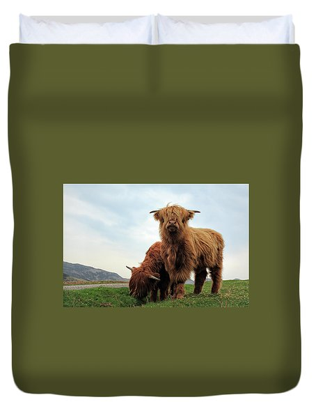 Highland Cow Calves Duvet Cover