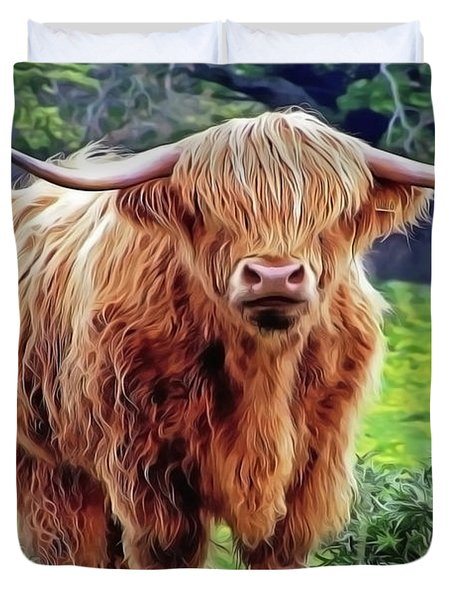 Duvet Cover featuring the painting Highland Cow by Harry Warrick