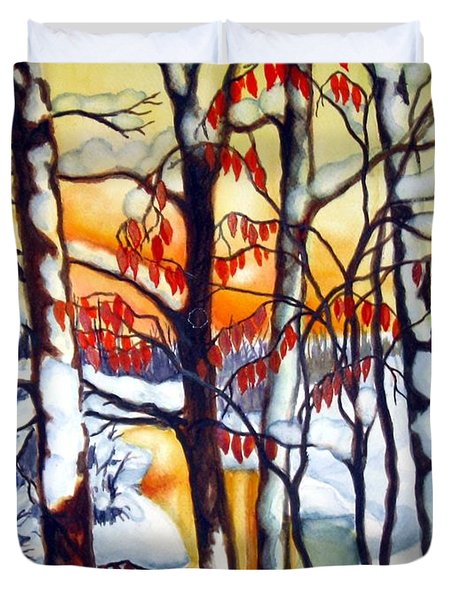 Duvet Cover featuring the painting Highland Creek Sunset 1 by Inese Poga