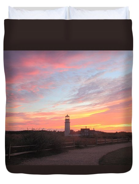 Highland Lighthouse Sunset Duvet Cover
