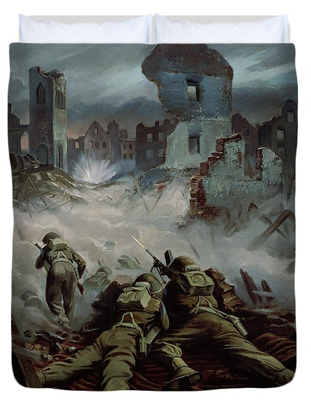 Highlanders Advancing To Caen Duvet Cover by Orville Norman Fisher