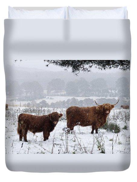 Highlanders In Snow Duvet Cover
