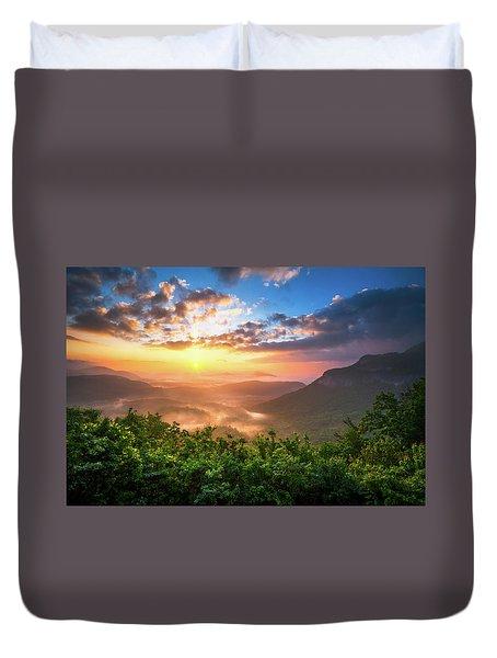 Highlands Sunrise - Whitesides Mountain In Highlands Nc Duvet Cover by Dave Allen