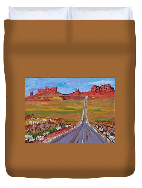 Highway 163  Monument Valley Duvet Cover by Mike Caitham