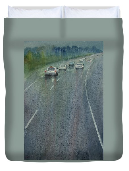 Highway On The Rain02 Duvet Cover