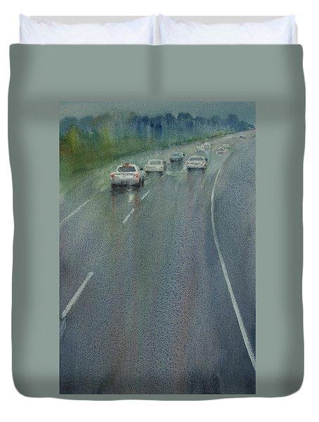 Highway On The Rain02 Duvet Cover