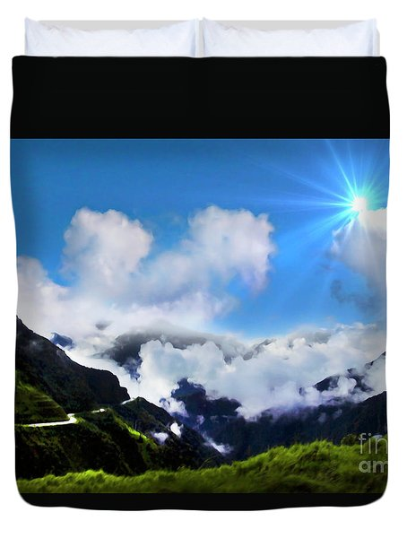 Highway Through The Andes - Painting Duvet Cover by Al Bourassa