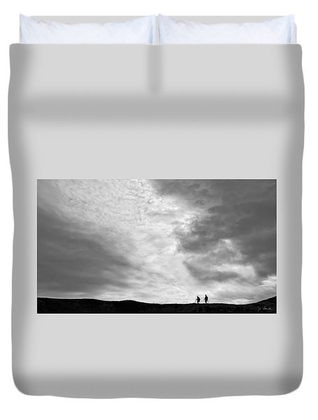 Duvet Cover featuring the photograph Hikers Under The Clouds by Joe Bonita