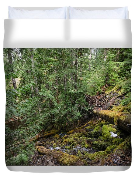 Hiking In The Forest Duvet Cover