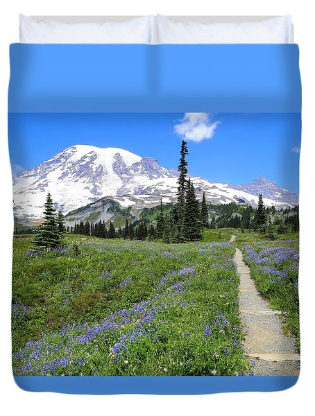 Hiking In The Wildflowers Duvet Cover
