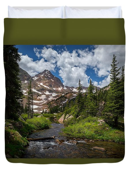 Hiking Into A High Alpine Lake Duvet Cover