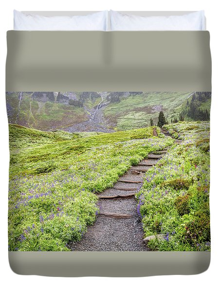 Duvet Cover featuring the photograph Hiking Mount Rainier In The Fog by Pierre Leclerc Photography