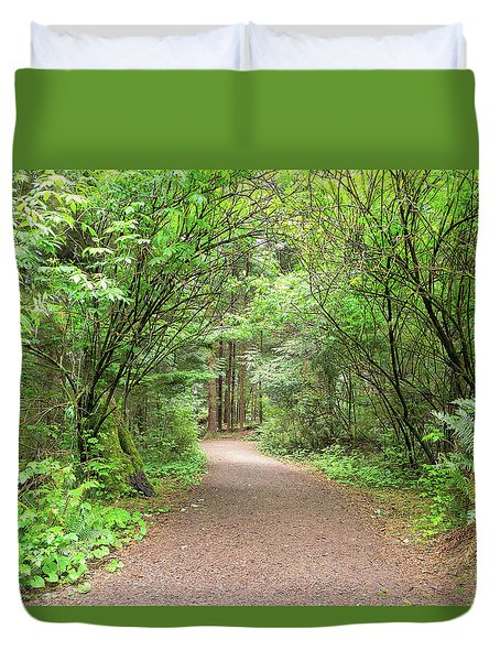 Hiking Trail Along Lewis And Clark River Duvet Cover