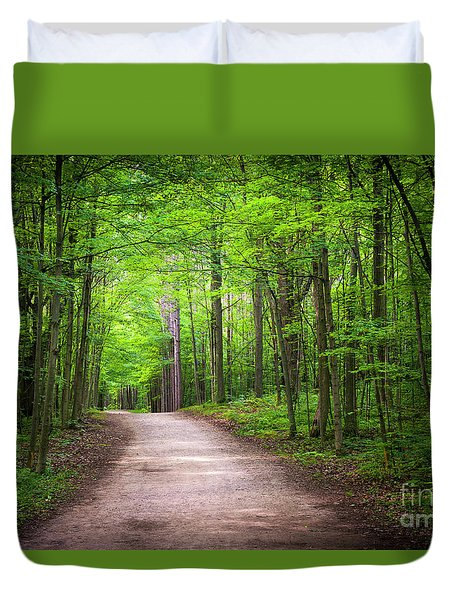 Duvet Cover featuring the photograph Hiking Trail In Green Forest by Elena Elisseeva
