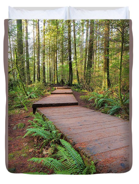 Hiking Trail Wood Walkway In Lynn Canyon Park Duvet Cover