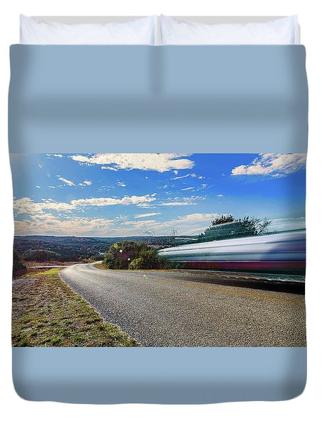 Hill Country Back Road Long Exposure Duvet Cover