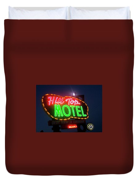 Duvet Cover featuring the photograph Hill Top Motel by Matthew Bamberg