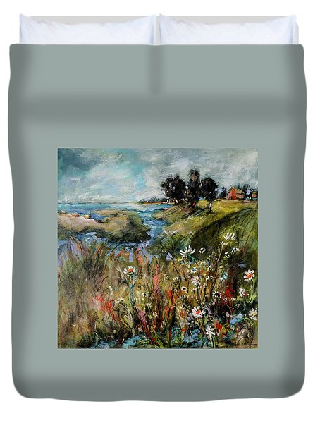 Hill Top Wildflowers Duvet Cover by Sharon Furner
