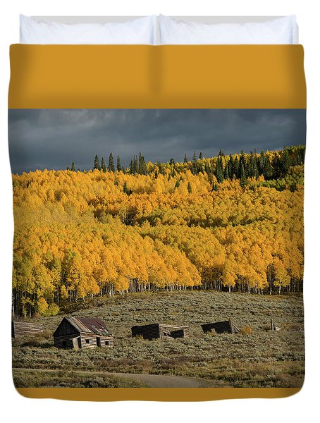 Duvet Cover featuring the photograph Hills Afire by Dana Sohr