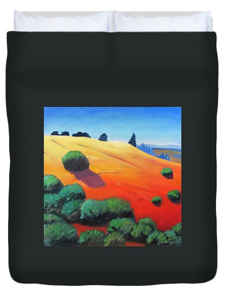 Duvet Cover featuring the painting Hills And Beyond by Gary Coleman
