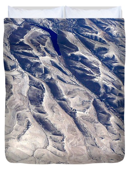 Hills And Valleys Aerial Duvet Cover by Carol Groenen