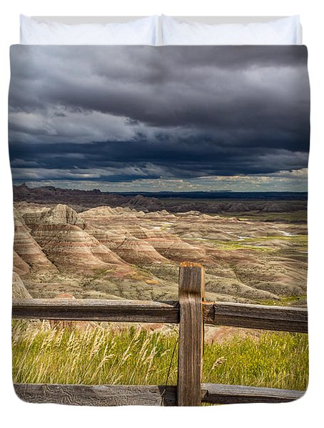 Hills Behind The Fence Duvet Cover