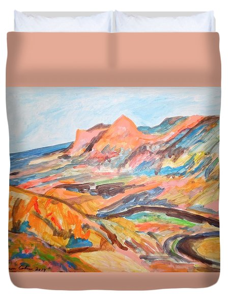 Hills Flowing Down To The Beach Duvet Cover by Esther Newman-Cohen