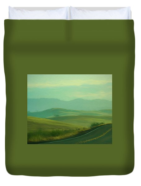 Hills In The Early Morning Light Digital Impressionist Art Duvet Cover