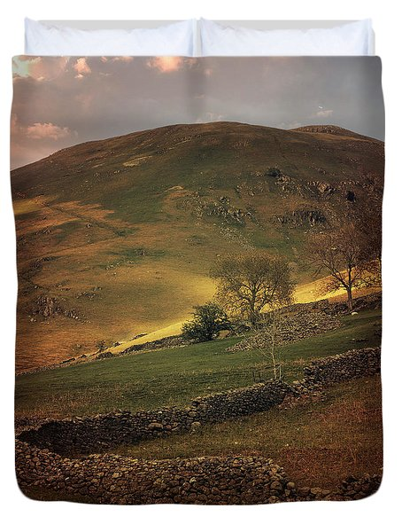 Hills Of Scotland At The Sunset Duvet Cover by Jaroslaw Blaminsky