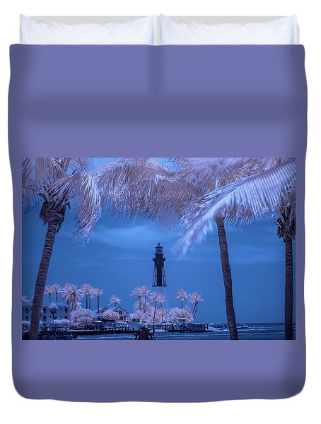 Duvet Cover featuring the photograph Hillsboro Inlet Lighthouse Infrared by Louis Ferreira